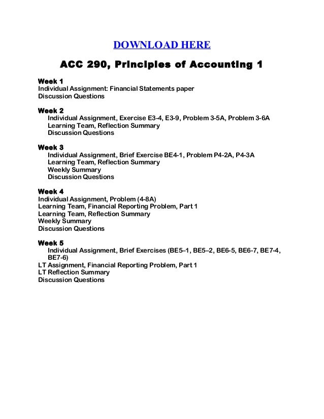 acc 290 principles of accounting