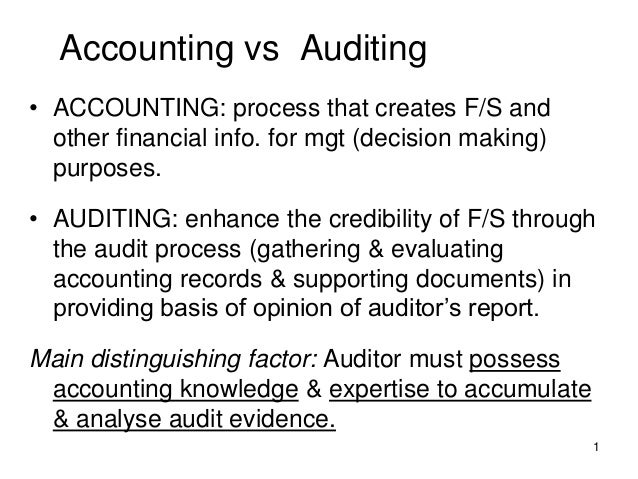 Accounting vs Auditing• ACCOUNTING: process that creates F/S and  other financial info. for mgt (decision making)  purpose...