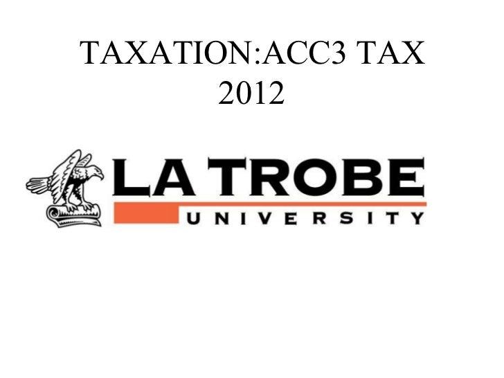 TAXATION:ACC3 TAX       2012