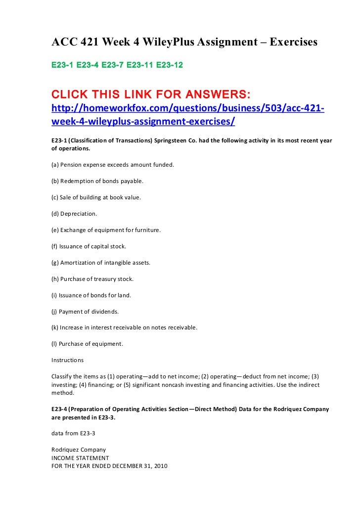 ACC 421 Week 4 WileyPlus Assignment – ExercisesE23-1 E23-4 E23-7 E23-11 E23-12CLICK THIS LINK FOR ANSWERS:http://homeworkf...
