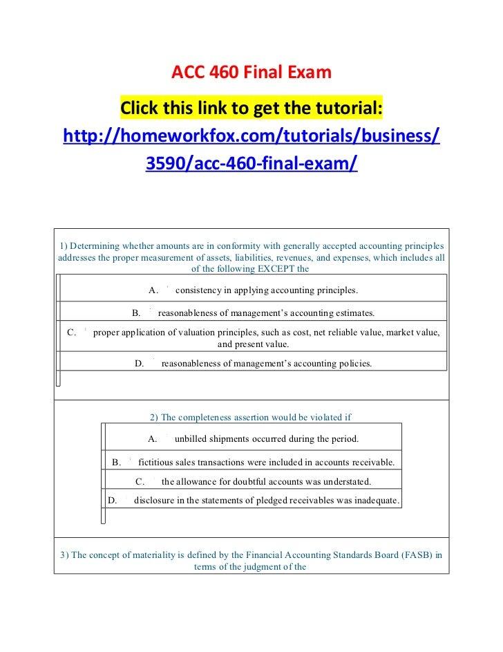Acc 460 final exam