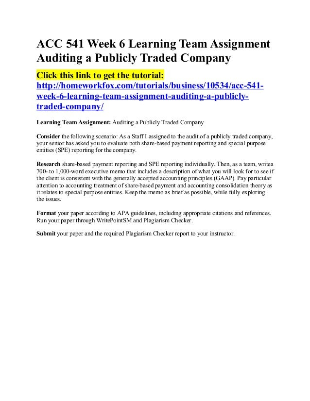 acc 541 auditing a publicly traded company