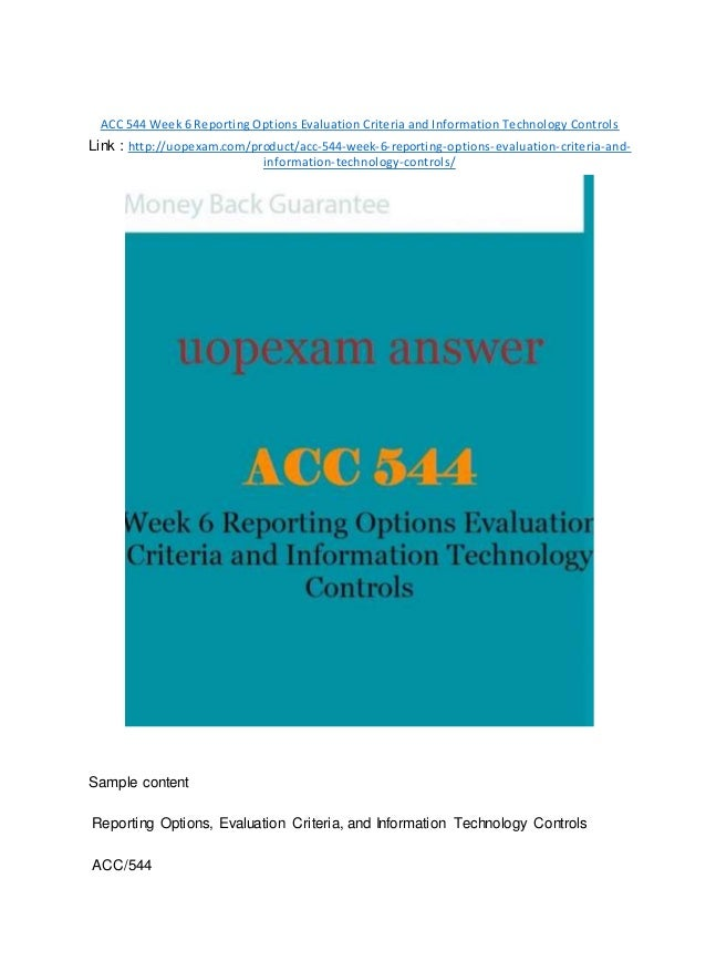 acc 544 week 6 reporting options For management reporting purposes, jpmorgan chase's activities are organized into a corporate  the settlement came a week after  31 cfr part 544.