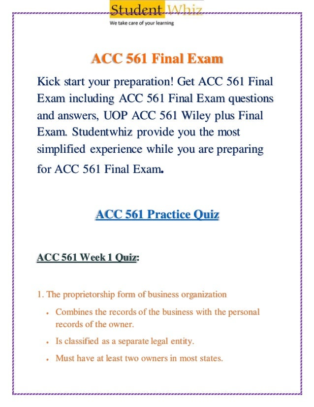 ACC 561 Week 6 Assignment Practice Quiz – Latest