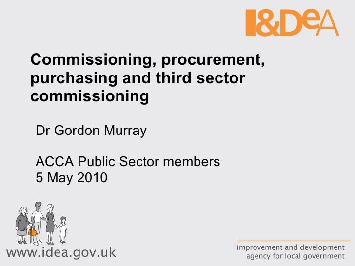 Commissioning, procurement, purchasing and third sector commissioning Dr Gordon Murray ACCA Public Sector members 5 May 2010