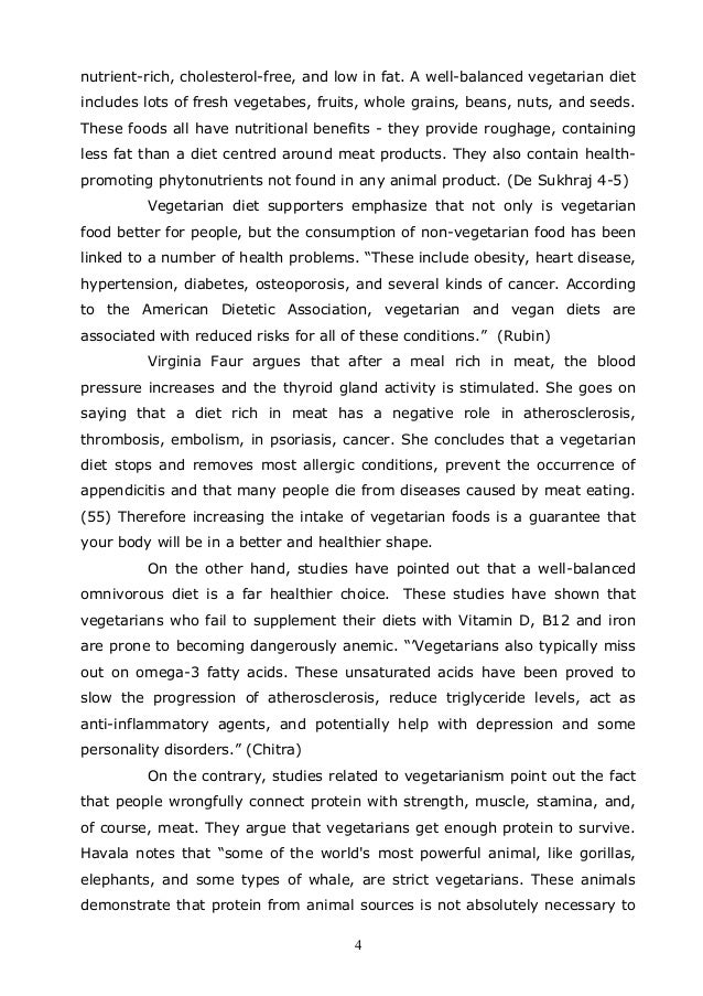 essay on being vegetarian