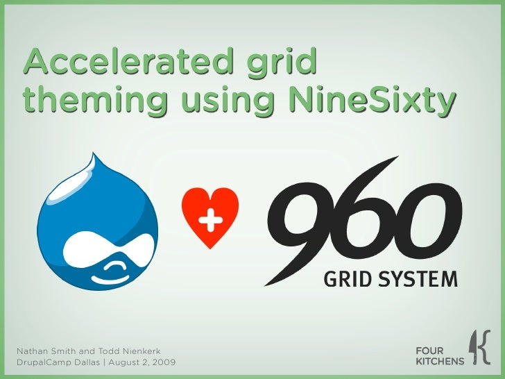 Accelerated grid  theming using NineSixty                                        +  Nathan Smith and Todd Nienkerk DrupalC...