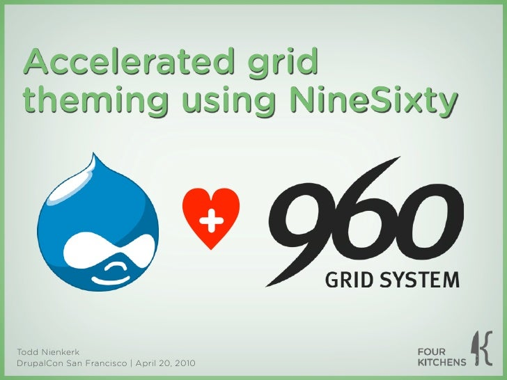Accelerated grid  theming using NineSixty                                              +  Todd Nienkerk DrupalCon San Fran...