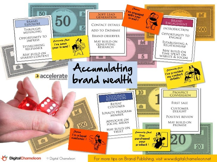 Accumulating                 brand wealth© Digital Chameleon   For more tips on Brand Publishing, visit www.digitalchamele...