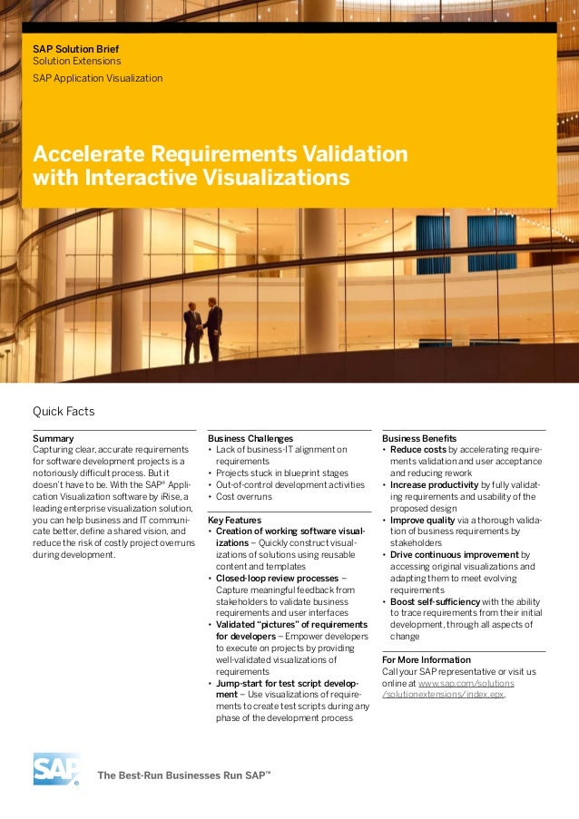 SAP Solution Brief Solution Extensions SAP Application Visualization Accelerate Requirements Validation with Interactive V...