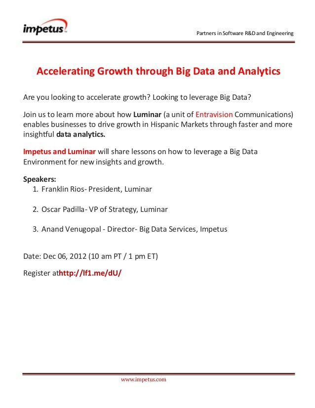 Accelerating Growth through Big Data and Analytics- Impetus Webinar