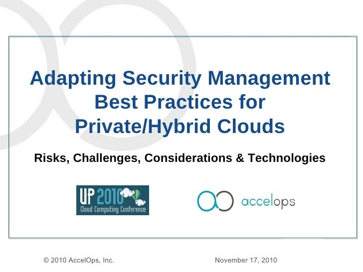 Adapting Security Management Best Practices for Public / Hybrid Clouds