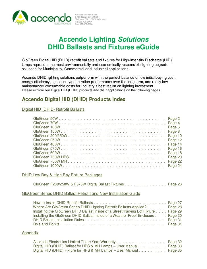 Accendo Lighting Solutions Digital HID (DHID) Ballasts and Fixtures eGuide