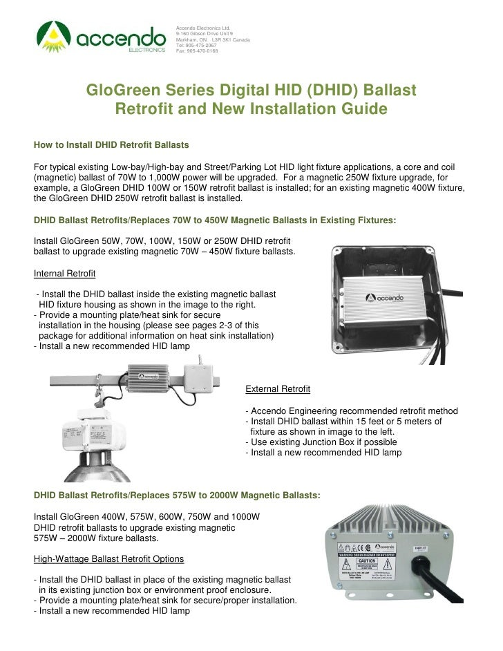 Accendo GloGreen Digital HID (DHID) Lighting Ballast Installation Guide