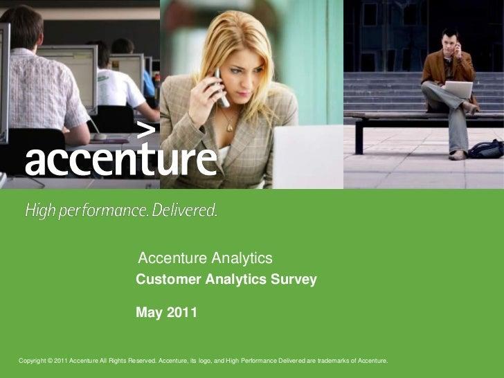 Accenture : Analytics Survey, mai 2011