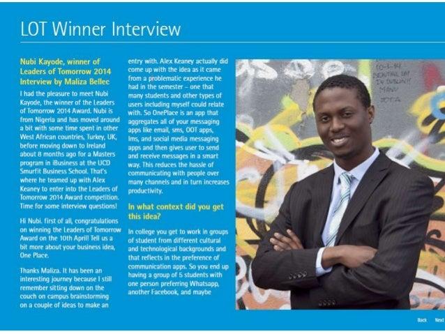 Accenture Ireland Newsletter Interview - Leaders of Tomorrow Award