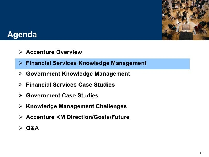 knowledge management in accenture 1992 january 2001 Case presentation of knowledge management at accenture management consulting service lines customer relationship management finance &amp performance management process &amp innovation performance risk management strategy supply chain management talent &amp organisation performance systems.