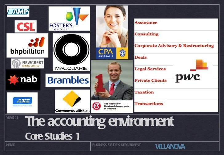 The accounting environment <ul><li>Core Studies 1 </li></ul>YEAR 11 NAME BUSINESS STUDIES DEPARTMENT VILLANOVA