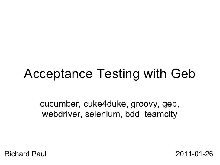 Acceptance testing with Geb