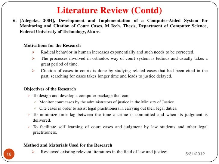writing the literature review of a thesis