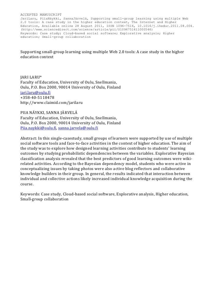 Supporting small-group learning using multiple Web 2.0 tools: A case study in the higher education context