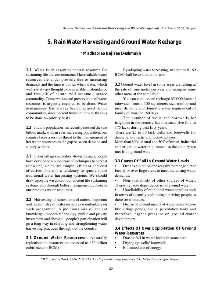 write an essay on water harvesting and watershed management Short essay on water management (india) methods of water harvesting and groundwater recharge watershed management.