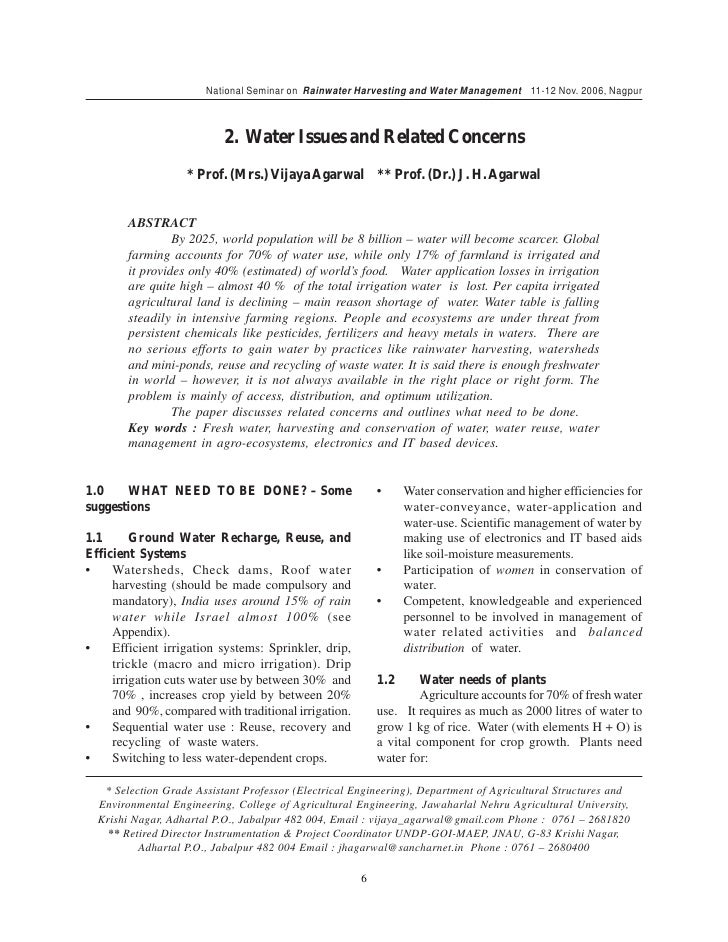 rain water harvesting essay conclusion N rain water flows down the hills in the form of small streams which join together to form rivers and an essay on rain water harvesting lakes.