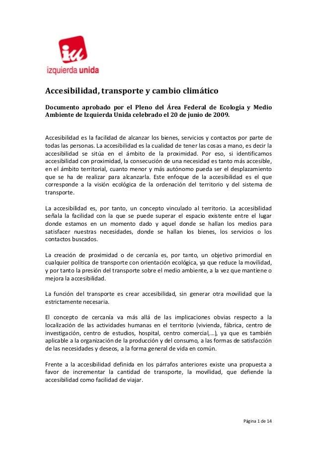 Página1de14      Accesibilidad,transporteycambioclimático  Documento aprobado por el Pleno del Área...