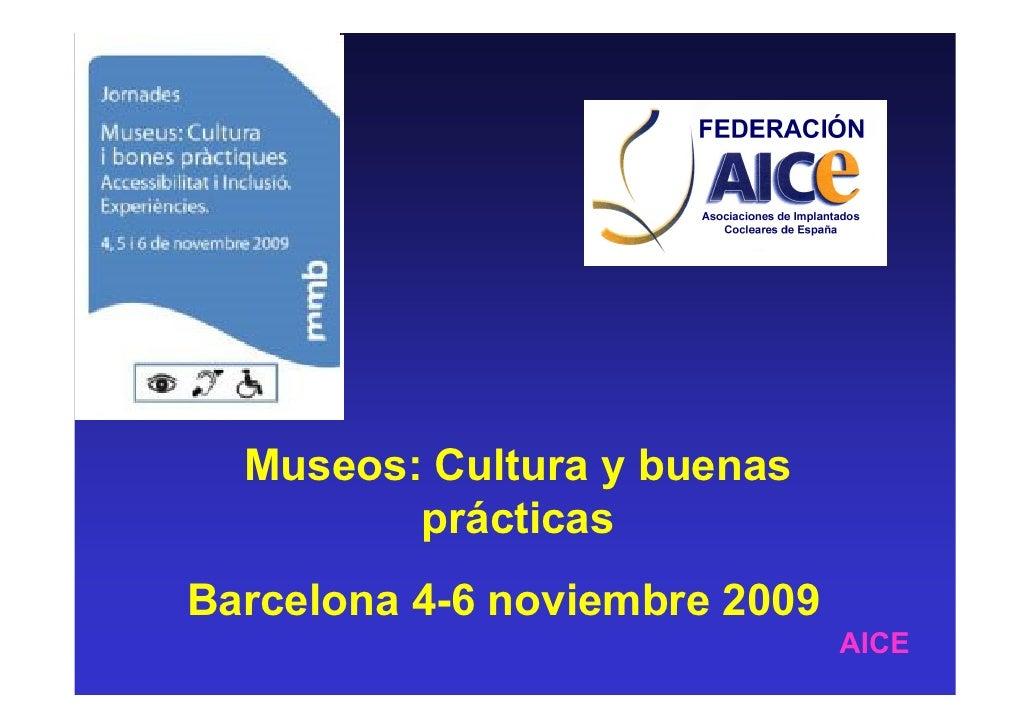 Museos: Cultura y buenas          prácticas Barcelona 4-6 noviembre 2009                                AICE