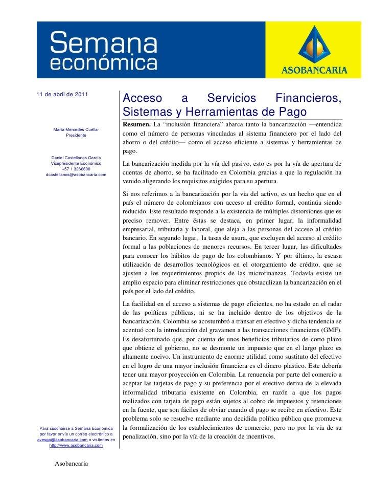 11 de abril de 2011                                           Acceso    a    Servicios  Financieros,                      ...