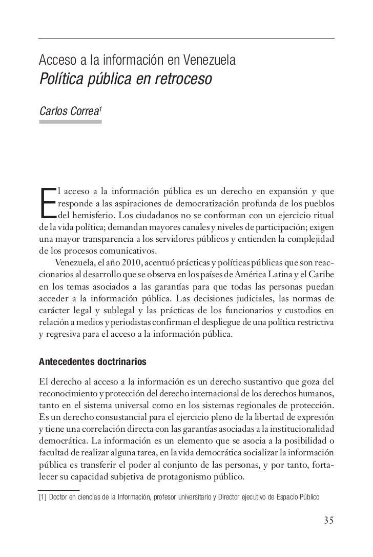 Acceso a la información en VenezuelaPolítica pública en retrocesoCarlos Correa1      l acceso a la información pública es ...