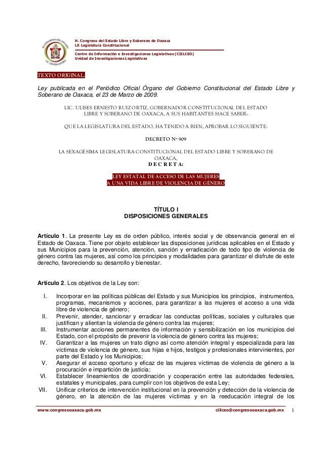 H. Congreso del Estado Libre y Soberano de Oaxaca LX Legislatura Constitucional Centro de Información e Investigaciones Le...