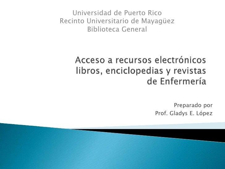 Acceso A Recursos Electrónicos Enfermeria