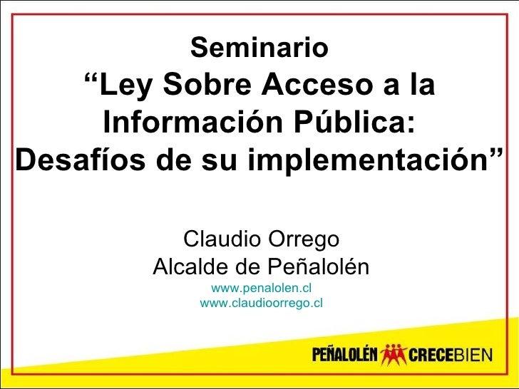 Seminario Acceso Informacion Publica Universidad Finis Terrae, noviembre 2008