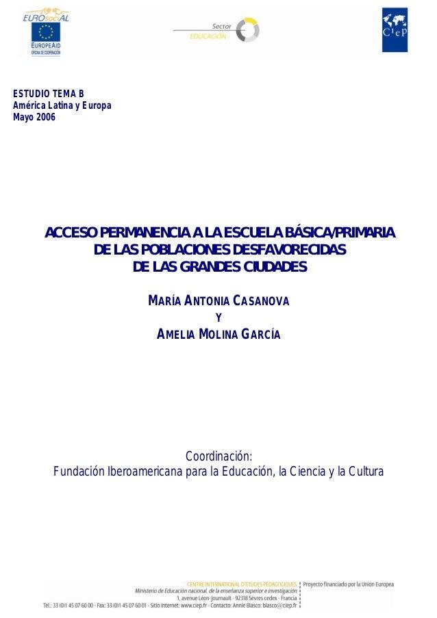 ESTUDIO TEMA B América Latina y Europa Mayo 2006 ACCESO PERMANENCIA A LA ESCUELA BÁSICA/PRIMARIA DE LAS POBLACIONES DESFAV...