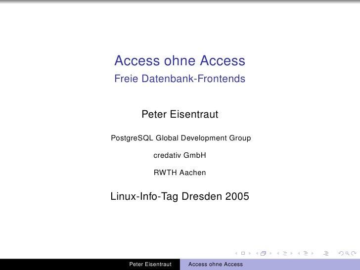 Access ohne Access: Freie Datenbank-Frontends