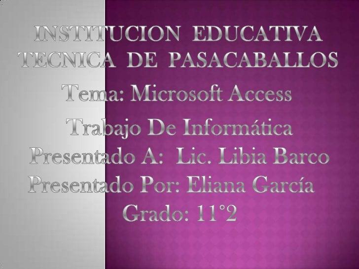 Microsoft Access es un sistema de gestión de bases de datos paralos sistemas operativos Microsoft Windows, desarrollado po...