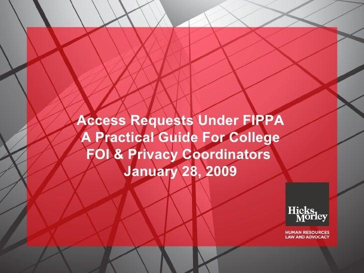 Access Requests Under Fippa - Jan 28/2009