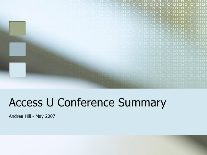 Access U Conference Summary