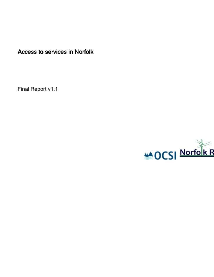 Access to services in NorfolkFinal Report v1.1