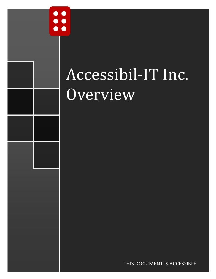 Accessibil-IT Inc.Overview        THIS DOCUMENT IS ACCESSIBLE