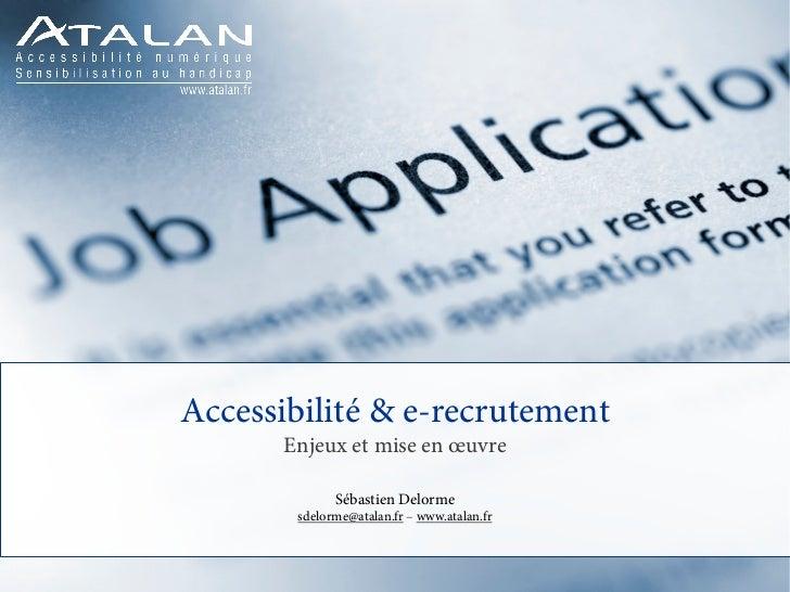 Accessibilité & e-recrutement