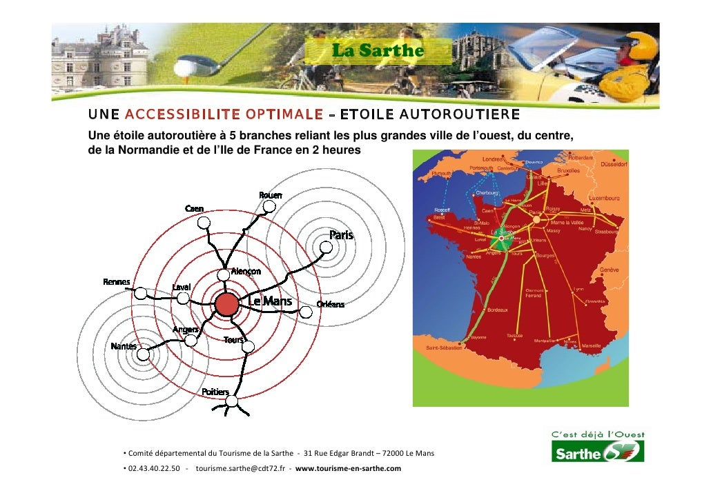 La Sarthe   UNE ACCESSIBILITE OPTIMALE – ETOILE AUTOROUTIERE Une étoile autoroutière à 5 branches reliant les plus grandes...