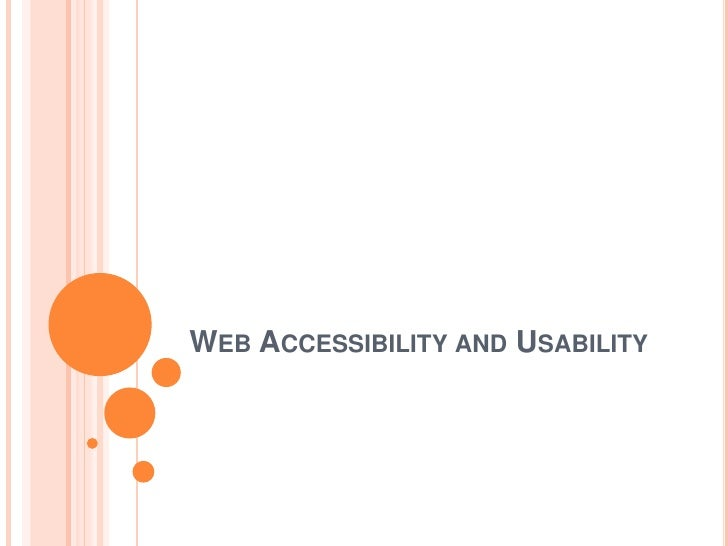 WEB ACCESSIBILITY AND USABILITY