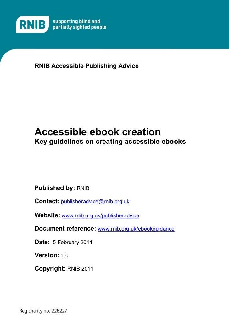 Accessible ebook creation