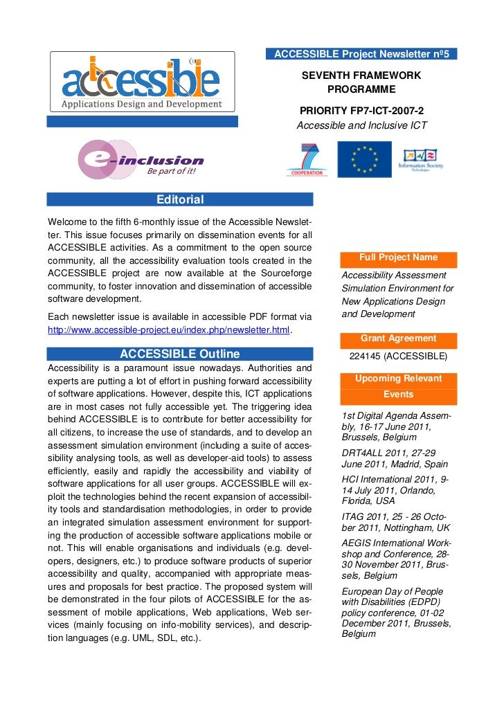 ACCESSIBLE Project Newsletter nº5                                                                 SEVENTH FRAMEWORK       ...
