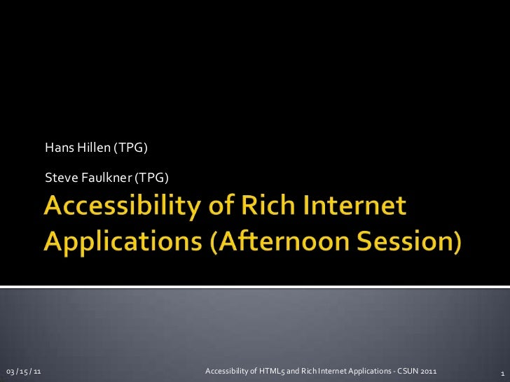 Accessible web applications