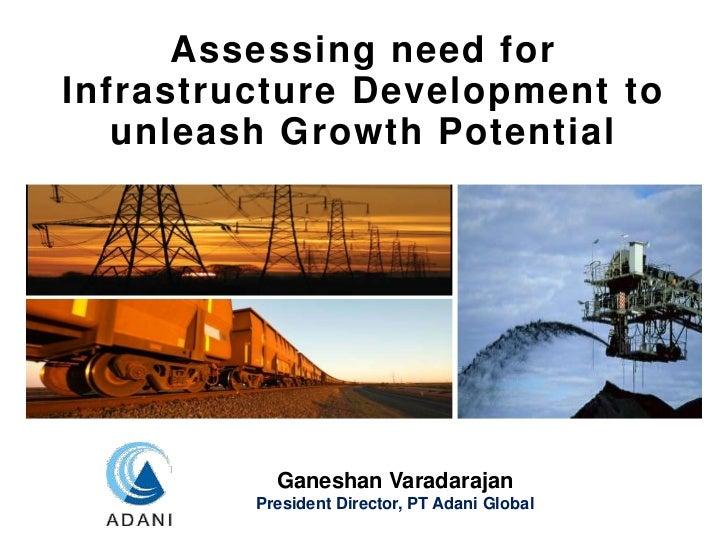 Assessing need forInfrastructure Development to   unleash Growth Potential           Ganeshan Varadarajan         Presiden...