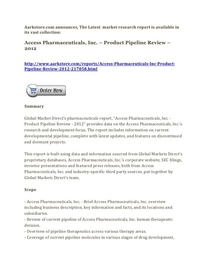 Access pharmaceuticals, inc. – product pipeline review – 2012