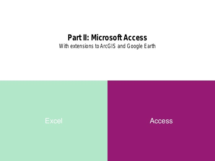 Part II: Microsoft Access    With extensions to ArcGIS and Google EarthExcel                                      Access